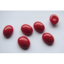 Cabochon Oval 10x8 mm, Red Opaque Glass