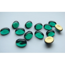 Cabochon Oval 8x6 mm, Green Emerald with a gold base