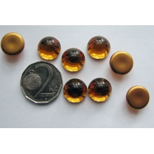 Cabochon round 12 mm, Topaz with a gold base (simili)