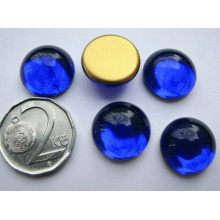 Cabochon round 16 mm, Dark Blue Sapphire with a gold base (simili)