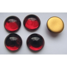 Cabochon round 16 mm, Siam Ruby with a gold base (simili)