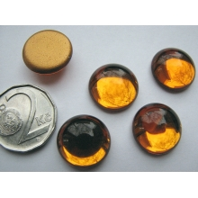 Cabochon round 16 mm, Topaz with a gold base (simili)