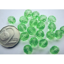 Fire polished faceted round bead 8mm, URANIUM Green Vaseline Crystal